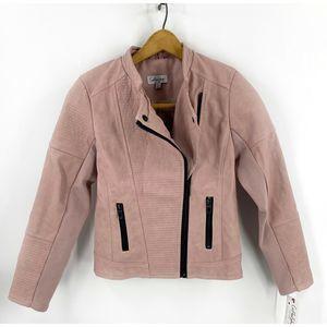 Coffee Shop Girls Faux Leather Jacket Sz L NEW